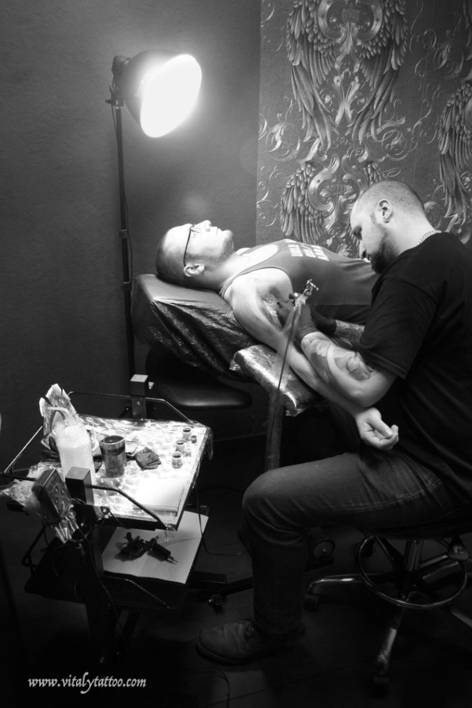 Vitaly tattoo at work