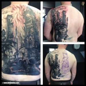 Black and grey back piece - Vitalytattoo BLACKPOOL