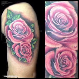 Color rose tattoo-VITTALYTATTOO-BLACKPOOL