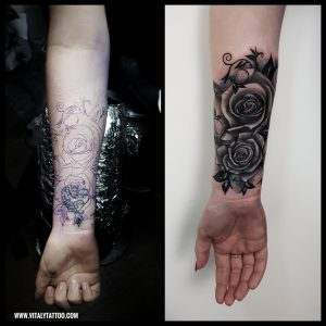 Rose cover up tattoo by Vitaly-Blackpool