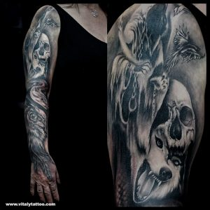 Dark tattoo sleeve-by Vitaly-Blackpool