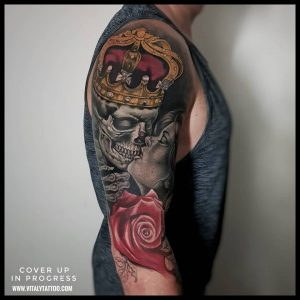 SKULL AND CROWN TATTOO-BY VITALY-BLACKPOOL