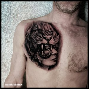 Lion and face tattoo by Vitaly-Blackpool