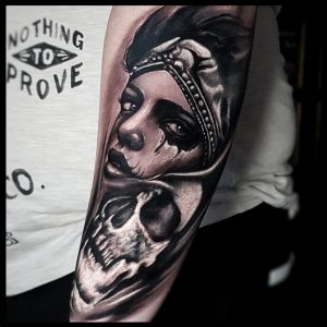 face and skull tattoo-sheffield
