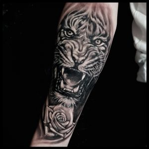 tiger and rose tattoo-sheffield