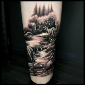 wild life leg tattoo-sheffield